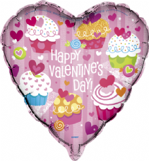 Happy Valentines Day Cupcake Foil Helium Balloon